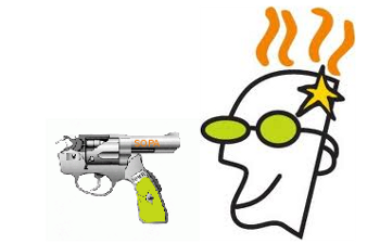 GoDaddy logo uses a gun with the barrel pointing backwards. Will the ploy backfire?