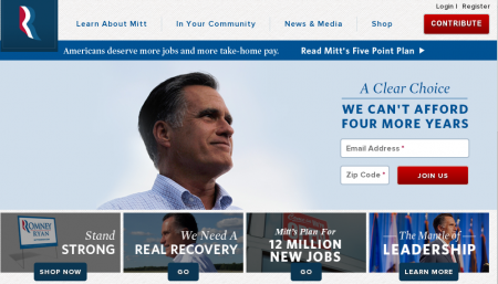 Screenshot of Mitt Romney & Ryan website
