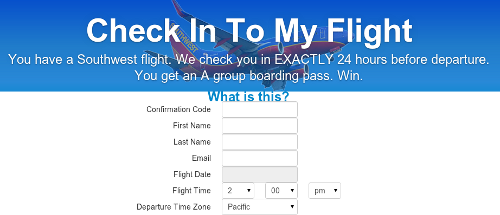 screenshot of check into my flight website