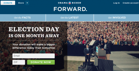 screenshot of the Obama Biden website