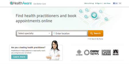 screenshot of healthaware homepage