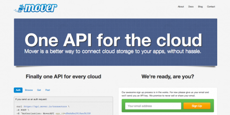 screenshot of Mover.io. Mover.io uncomplicates cloud integrations for developers, providing an easier experience to talk to services like Dropbox, Google Drive, and Box.