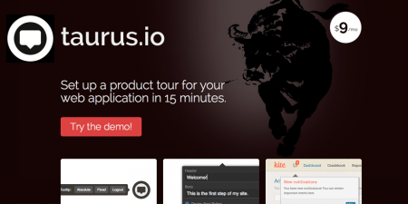 screenshot of taurus.io. Taurus is a service to help developers create product tours for their web applications in 15 minutes using a point and click interface