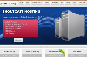 Screenshot of website from dufunct web hosting company Senta Hosting