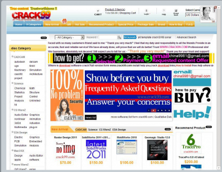 cached Screenshot of the crack99.com website 