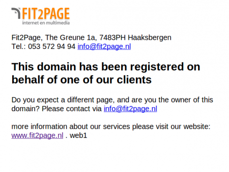 screenshot of redirected dynacloud domain to Fit 2 Page website