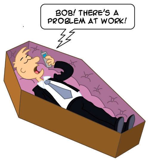 Man in coffin saying on the phone