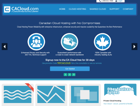 screenshot of the revamped CA Cloud dot com website