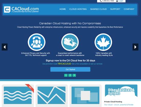 screenshot of the revamped CA Cloud dot com website