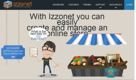 screen shot of defunct izzonet eCommerce platform
