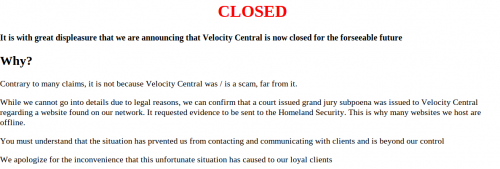 Screenshot of the Velocity Central Homepage