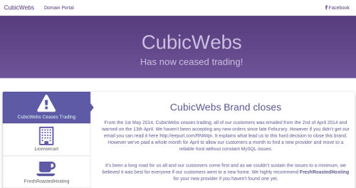 Notice on CubicWebs homepage says the company is going out of business