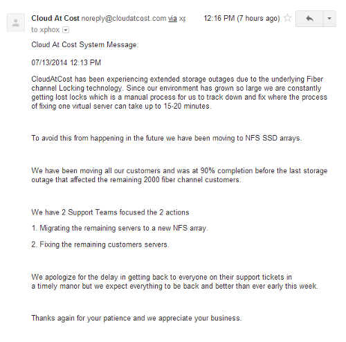 CloudAtCost responds to support issues