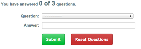 screenshot of the 3 question security feature