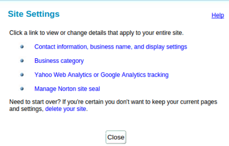 screenshot of Aabaco site settings window