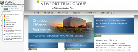 screenshot of Wave error report for Newport Trial Group website
