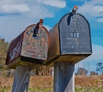 picture of two old rural mailboxes