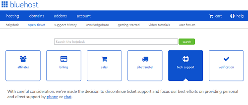 Screenshot of BlueHost panel with note that email support is no longer available