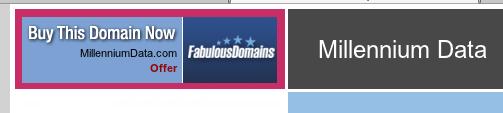 screenshot showing Millennium Data domain for sale