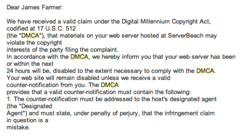 screenshot of ServerBeach DMCA Takedown notice to Edublogs