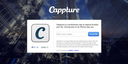 screenshot of Cappture website. Cappture is an iPhone application which is yet to be released that is playing with the concept of time in photography