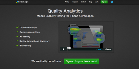 screenshot of heatmaps homepage. Heatmaps is a mobile quality analytics