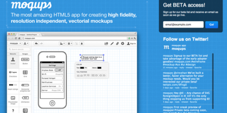 Moqups is a streamlined HTML5 web application for fast and painless wireframes, mockups and interactive prototypes.