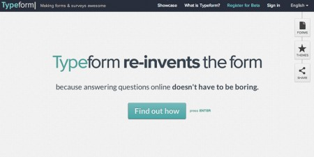 Screenshot of typeform homepage. Typeform introduces the next generation of online forms.