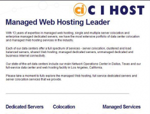 Screenshot of website from dufunct web hosting company C I Host