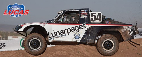 Lunarpages Team Lucas car flying through the air