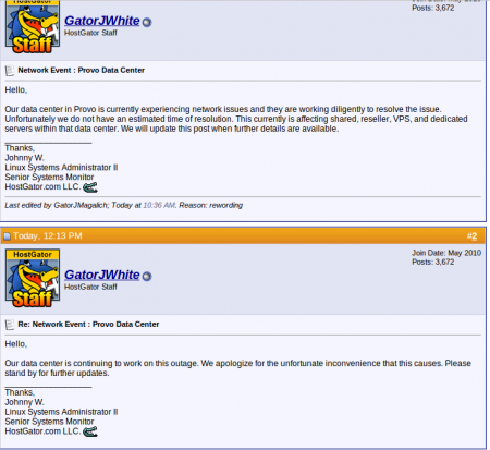 Hostgator status updates on datacenter outage