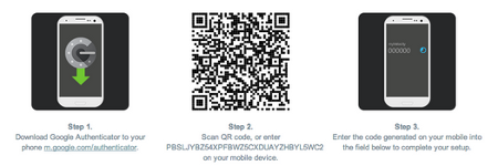 screenshot of the 2 factor authentication feature