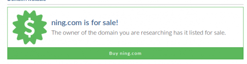 screenshot showing Ning.com domain is for sale