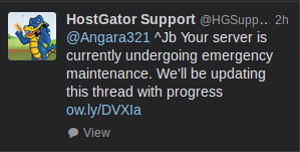 A response from Hostgator to a clients tweet about reseller issues