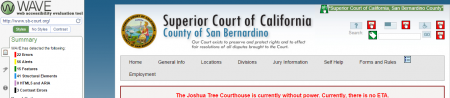 Screenshot of the Superior Court of California Wave Test