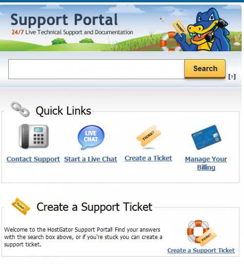 Screenshot of Support Portal showing email tickets as an option
