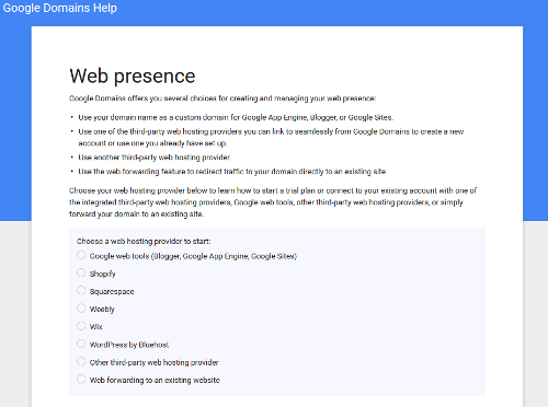 Screenshot of Google Domain options for managing domain