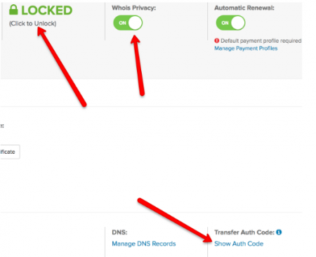 image shows location of domain lock,whois privacy, transfer auth code, and renewal button in name dot com admin panel